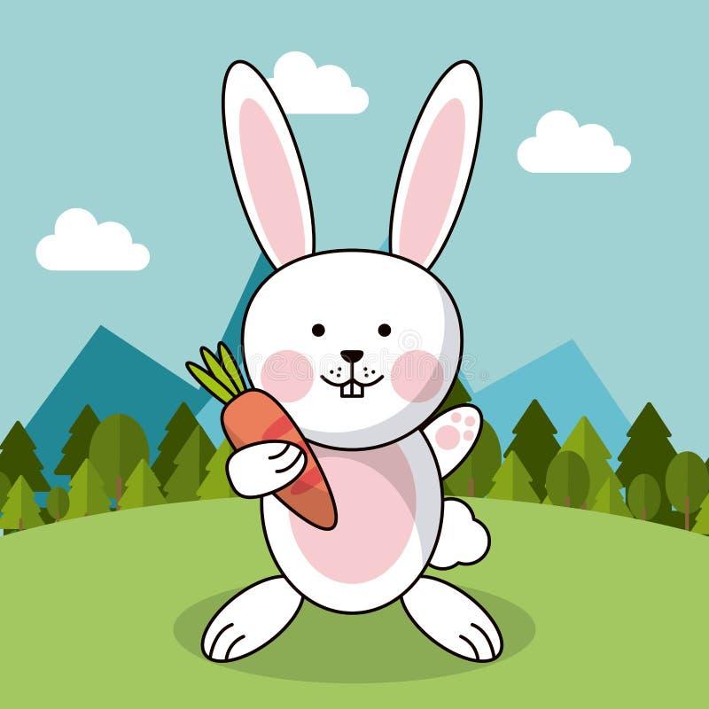Śliczny królik z marchwiany uroczy krajobrazowy naturalnym ilustracja wektor