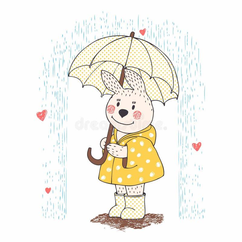 Śliczny królik z parasolem w deszczu Kreskówki zwierzę rysujący brzęczeniami ilustracja wektor