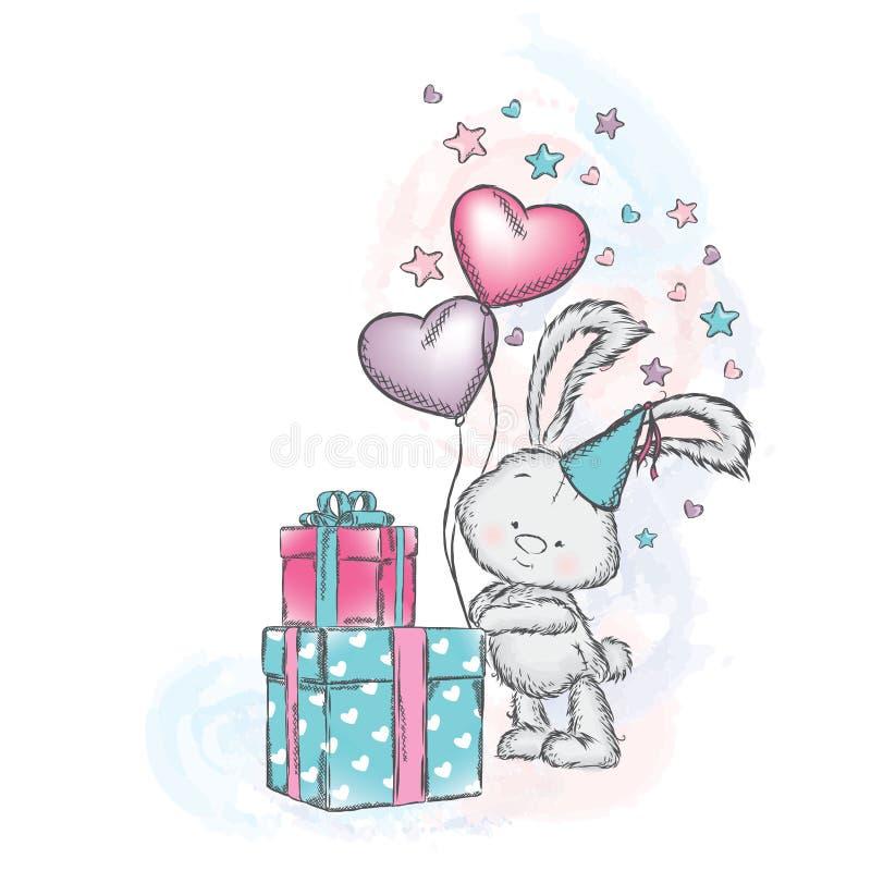 Śliczny królik z prezentami i balonami Wektorowa ilustracja dla plakata lub karty ilustracja wektor