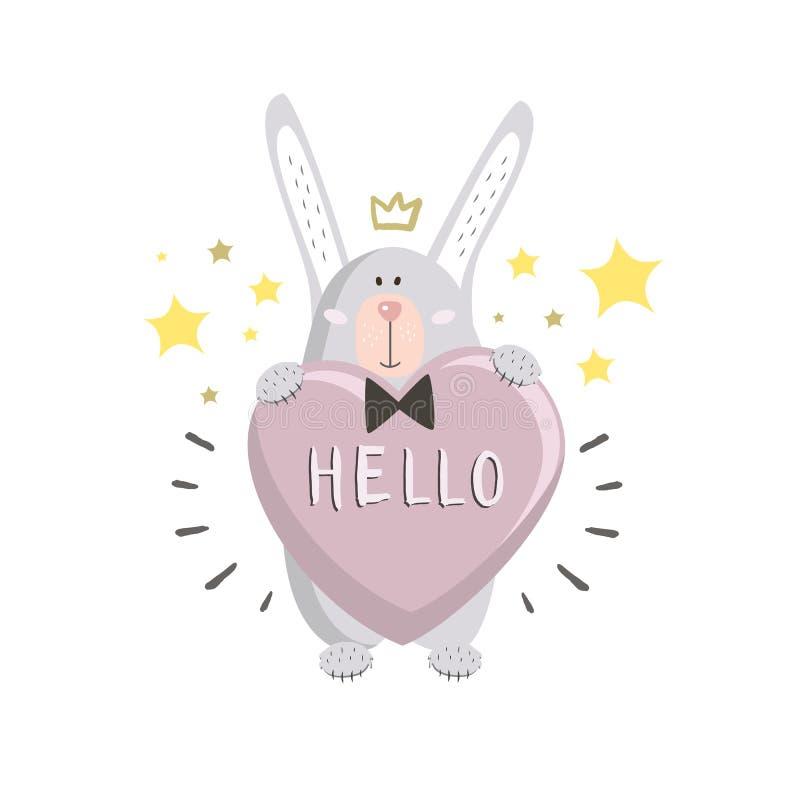 Śliczny królik z sercem i gwiazdy w stylu r?wnie? zwr?ci? corel ilustracji wektora dni karty pozdrowienia s walentynki ilustracji