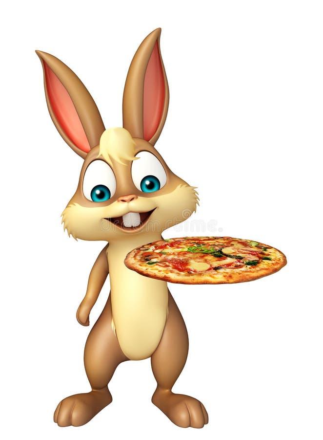 Śliczny królika postać z kreskówki z pizzą royalty ilustracja