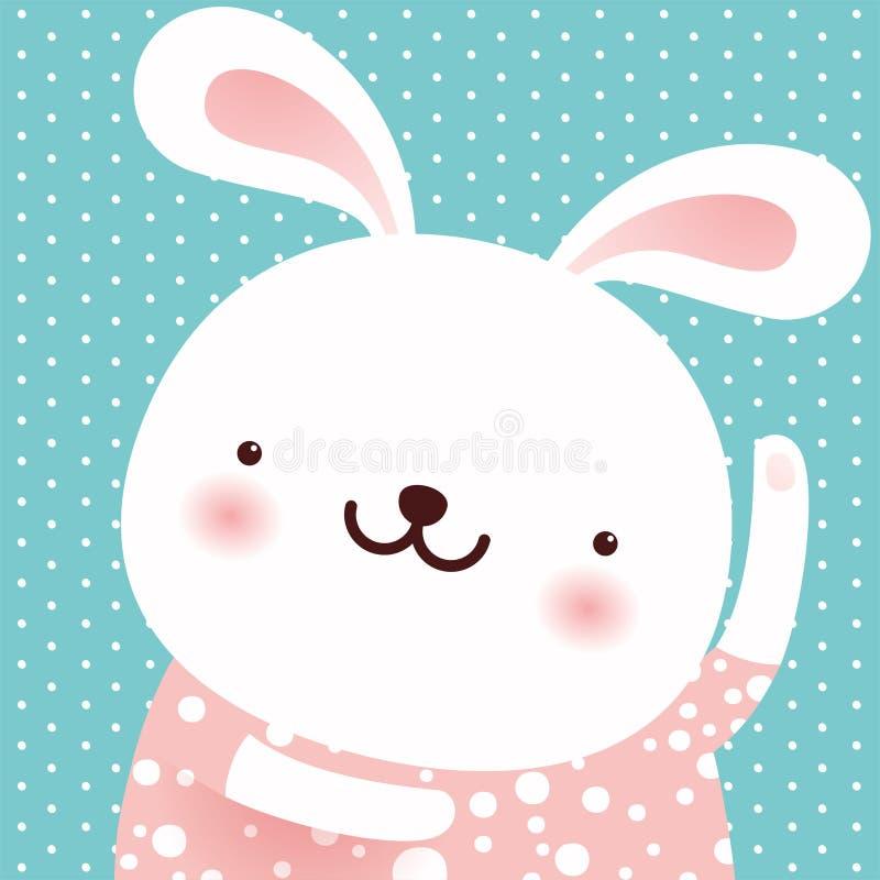 Śliczny królika taniec, postać z kreskówki, Wielkanocna kartka z pozdrowieniami, wektor royalty ilustracja