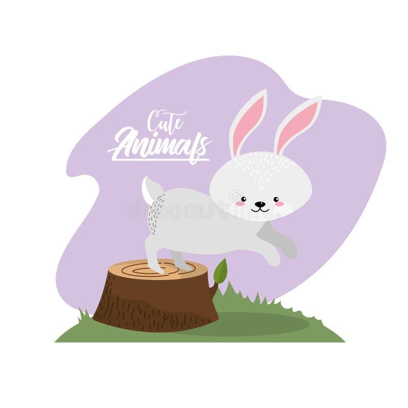 Śliczny królika zwierzę naturalna przyroda ilustracji