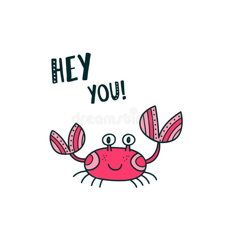 Śliczny krab mówi Ciebie Hej ilustracji