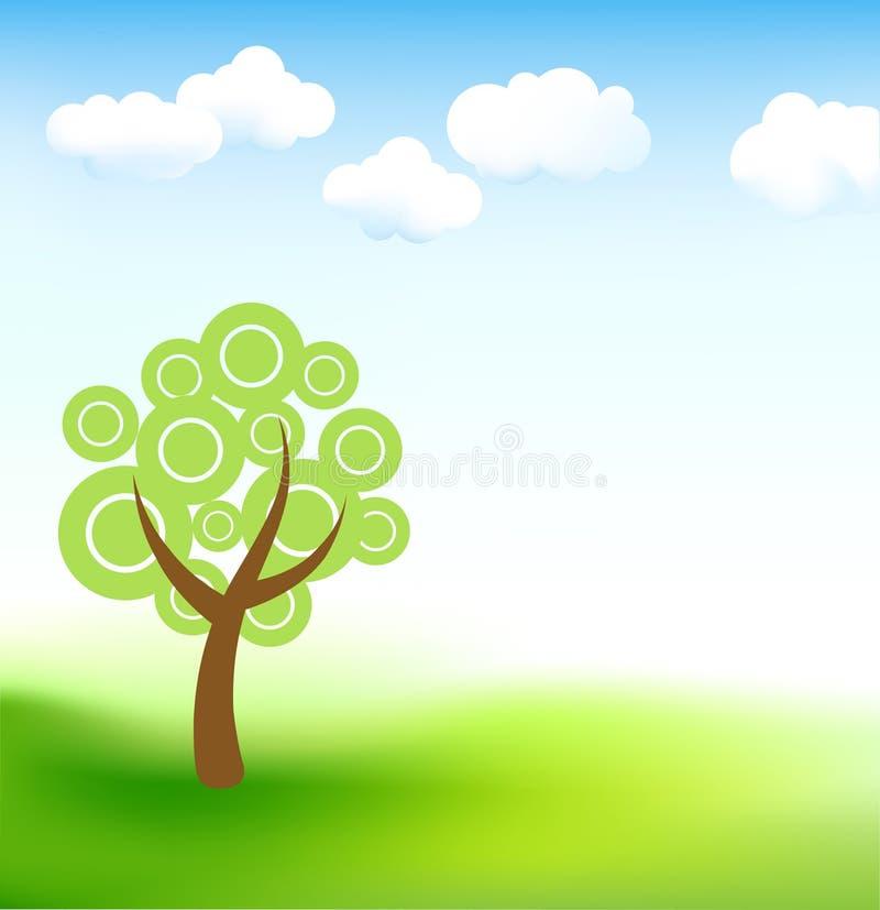 śliczny krajobrazowy drzewo royalty ilustracja