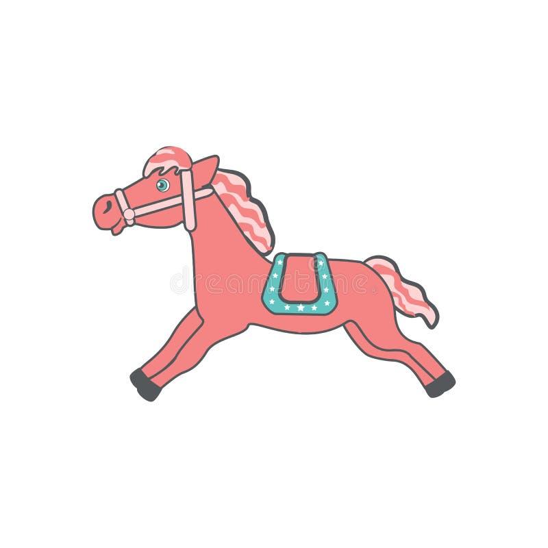 Śliczny kreskówek menchii koń z siodłowym bieg, domowego zwierzęta gospodarskie wektorowa kolorowa ilustracja odizolowywająca na  ilustracja wektor