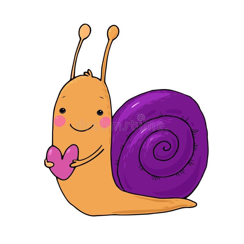 Śliczny kreskówka ślimaczek z sercem royalty ilustracja