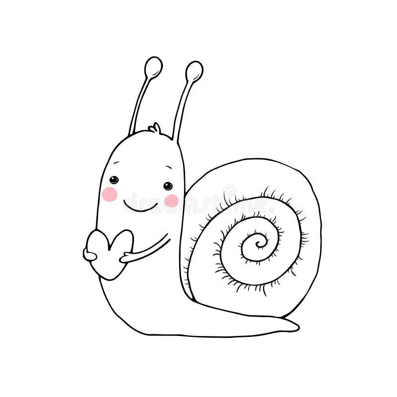 Śliczny kreskówka ślimaczek z sercem ilustracja wektor