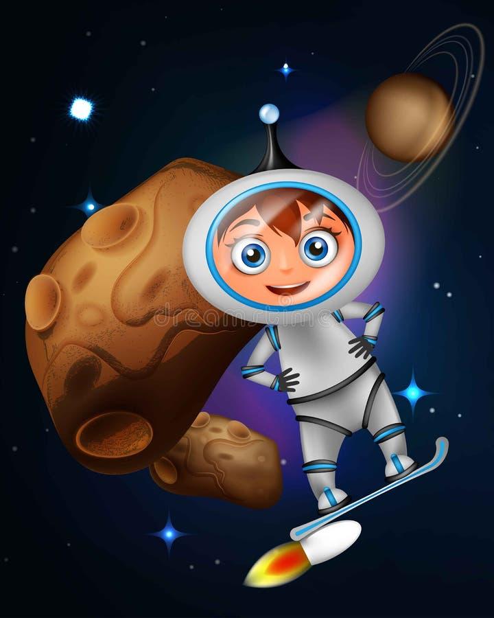 Śliczny kreskówka astronauta surfing na strumień desce royalty ilustracja