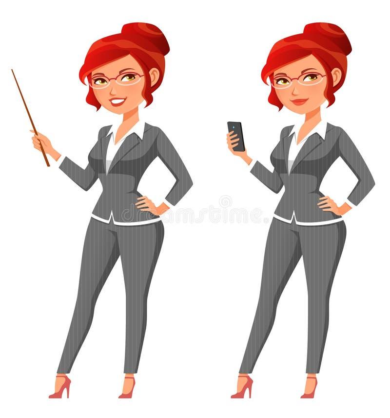 Śliczny kreskówka bizneswoman w popielatym kostiumu royalty ilustracja