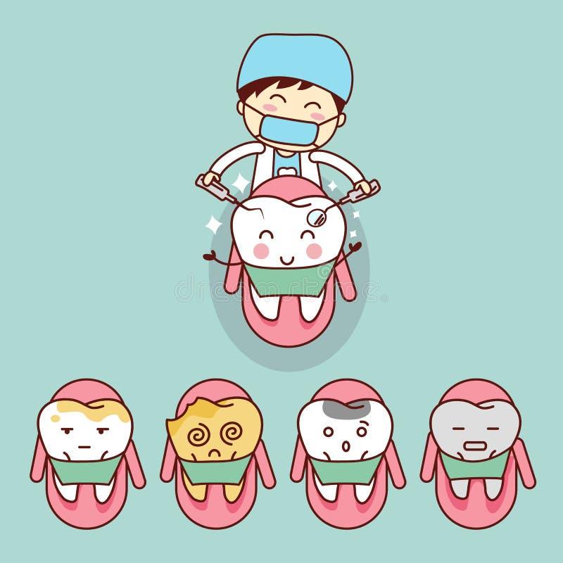 Śliczny kreskówka dentysta z zębem royalty ilustracja