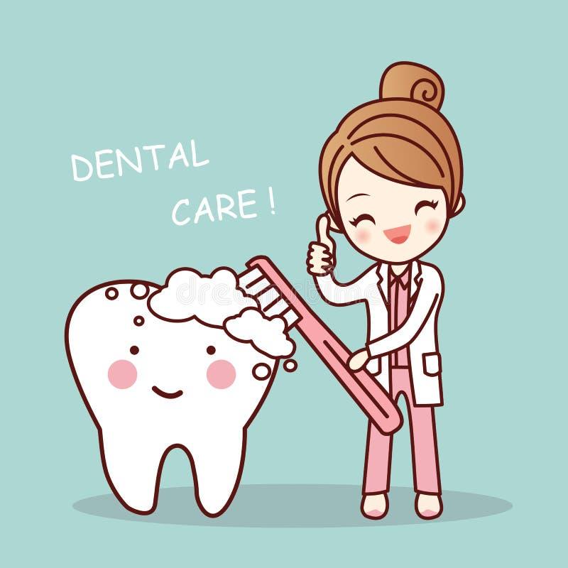 Śliczny kreskówka dentysty muśnięcia ząb ilustracji