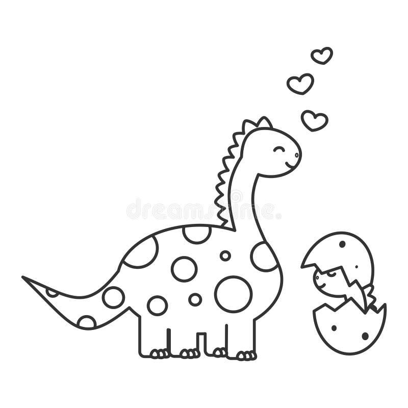 Śliczny kreskówka dinosaur z dziecko śmieszną wektorową czarny i biały ilustracją dla barwić sztukę ilustracji