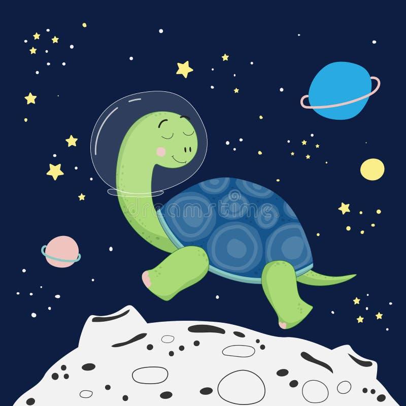 Śliczny kreskówka druk z żółwiem w przestrzeni royalty ilustracja