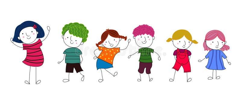 Śliczny kreskówka dzieciaków bawić się royalty ilustracja