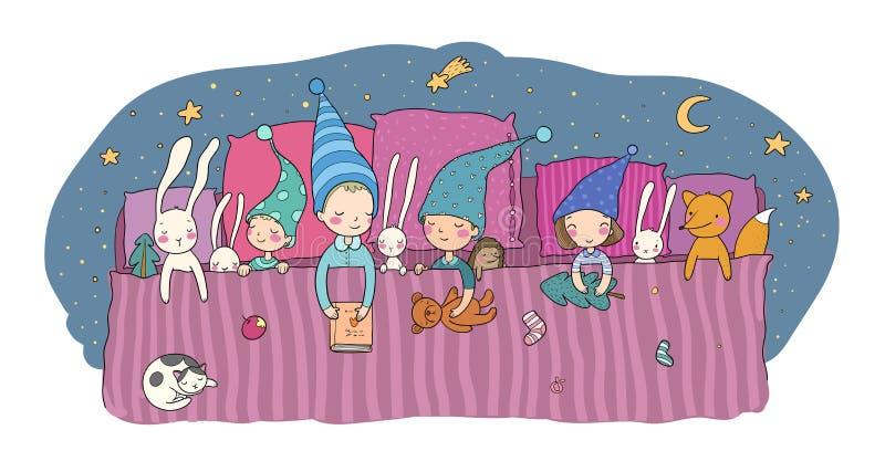Śliczny kreskówka gnomów sen w łóżku Śmieszni drewniani elfy Śpiący dzieciaki i zabawki - wektor royalty ilustracja