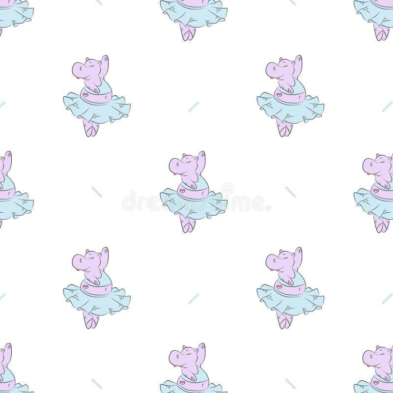 Śliczny kreskówka hipopotama wzór, ilustracja zdjęcie stock