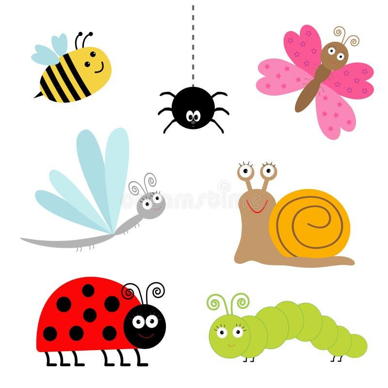 Śliczny kreskówka insekta set Biedronka, dragonfly, motyl, gąsienica, pająk, ślimaczek odosobniony ilustracji