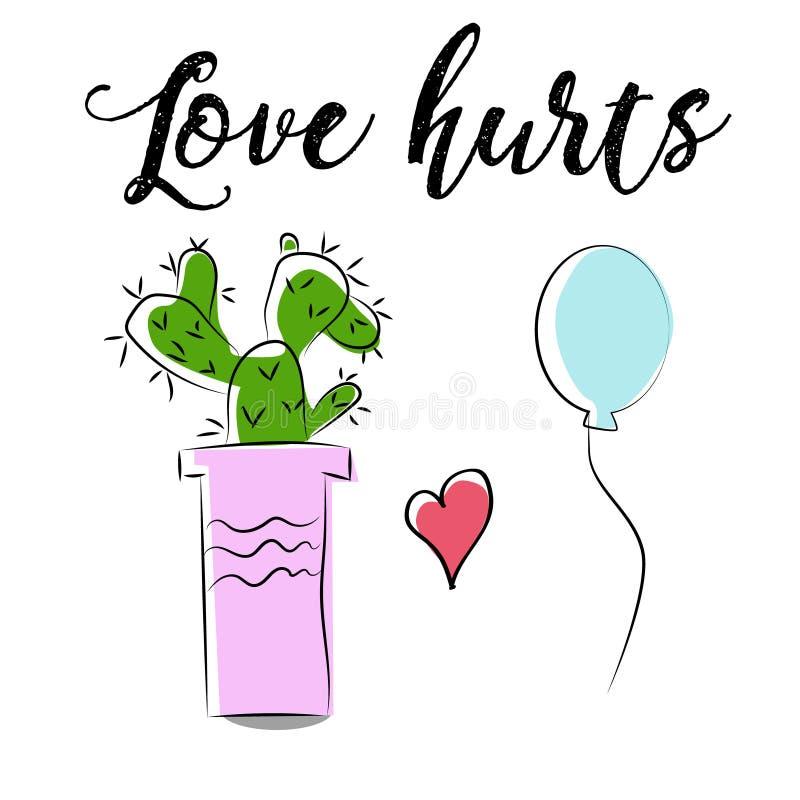 Śliczny kreskówka kaktus, balon i wręczamy patroszonego, miłość skaleczeń mówić royalty ilustracja