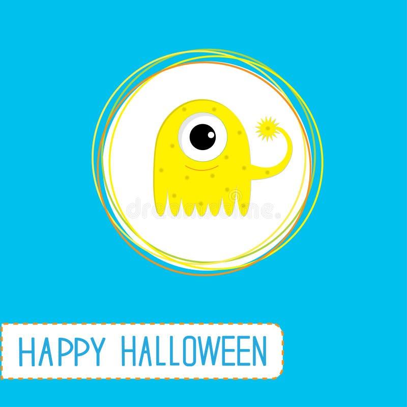 Śliczny kreskówka koloru żółtego potwór. Błękitny tło. Szczęśliwy Halloween ca ilustracja wektor