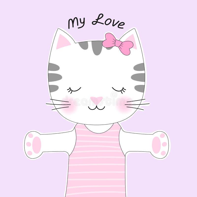 Śliczny kreskówka kot z inskrypcją i łękiem mój miłość ilustracji