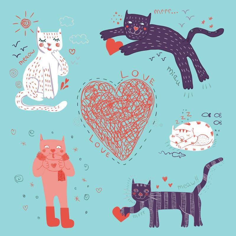 Śliczny kreskówka kot z szczęśliwym wyrażeniem, odprowadzenie, siedzi Ręka rysująca wektorowa ilustracja royalty ilustracja