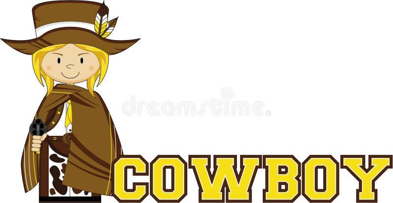 Śliczny kreskówka kowboj ilustracja wektor