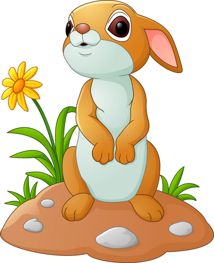 śliczny kreskówka królik royalty ilustracja