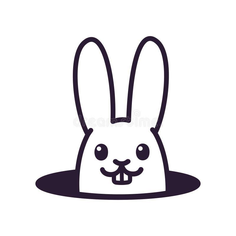 Śliczny kreskówka królik w dziurze royalty ilustracja