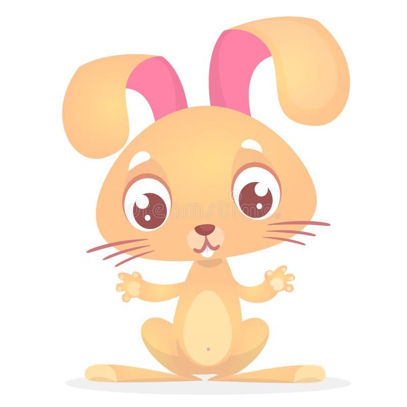 Śliczny kreskówka królik z dużymi ucho zwierząt gospodarstwa rolnego krajobraz wiele sheeeps lato również zwrócić corel ilustracj royalty ilustracja