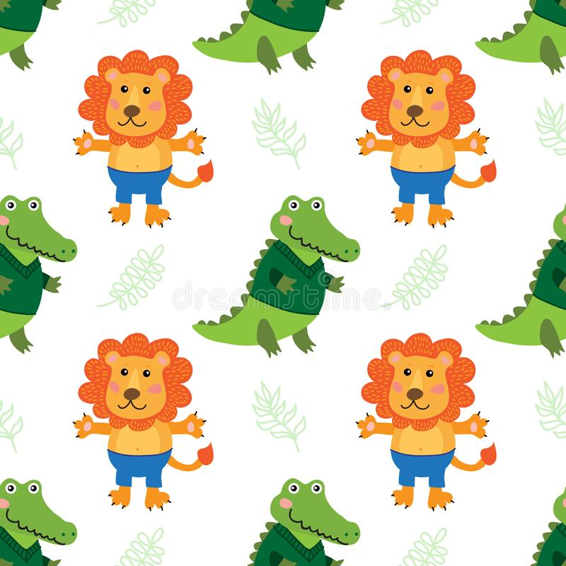 Śliczny kreskówka krokodyl, lew i ilustracji