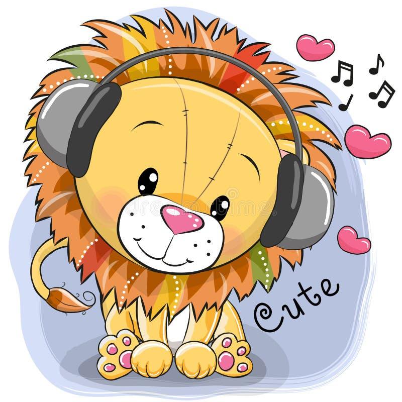 Śliczny kreskówka lew z hełmofonami i sercami ilustracja wektor