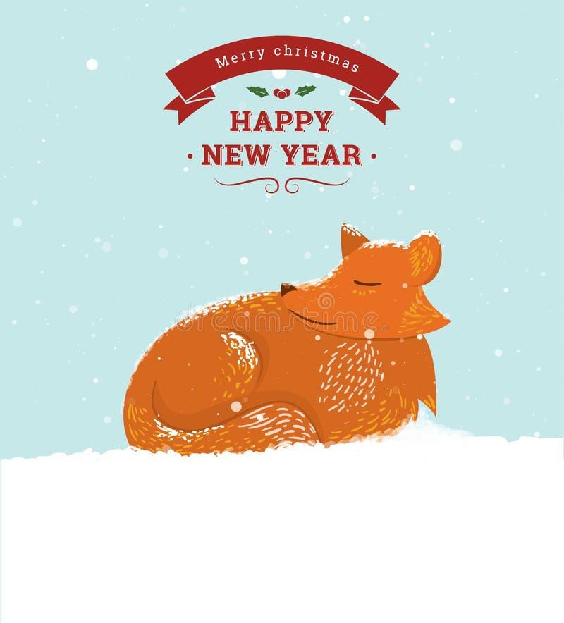 Śliczny kreskówka lis w śniegu