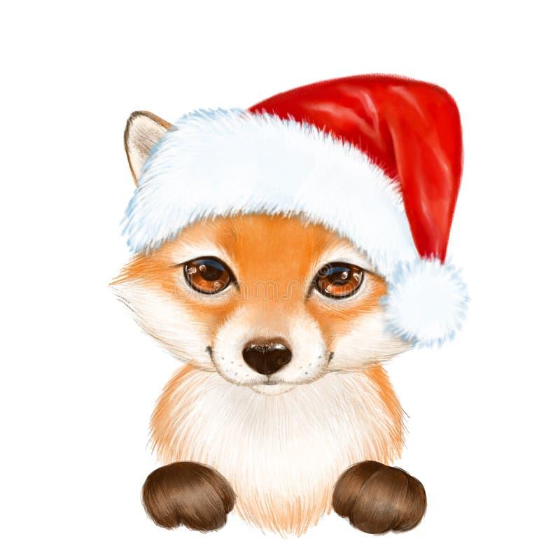 Śliczny kreskówka lis w Santa kapeluszu royalty ilustracja