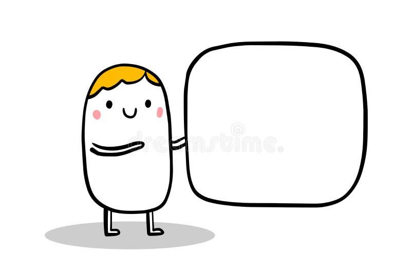 Śliczny kreskówka mężczyzny mienia pustego miejsca sztandar Wręcza patroszoną ilustrację dla druków plakatów chodnikowa karty bri ilustracji