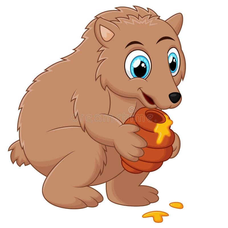 Śliczny kreskówka niedźwiedź trzyma miodowego garnek ilustracji