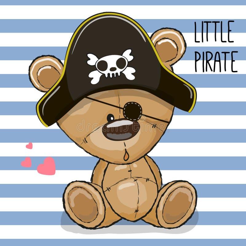 Śliczny kreskówka niedźwiedź w pirata kapeluszu royalty ilustracja