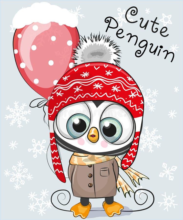Śliczny kreskówka pingwin w kapeluszu ilustracji