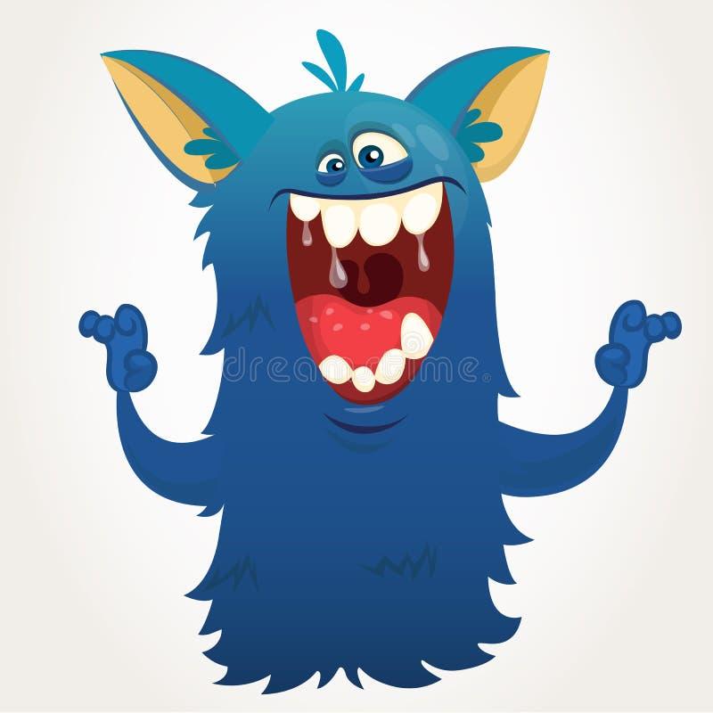 śliczny kreskówka potwór Wektorowy Halloweenowy Bigfoot charakter ilustracja wektor