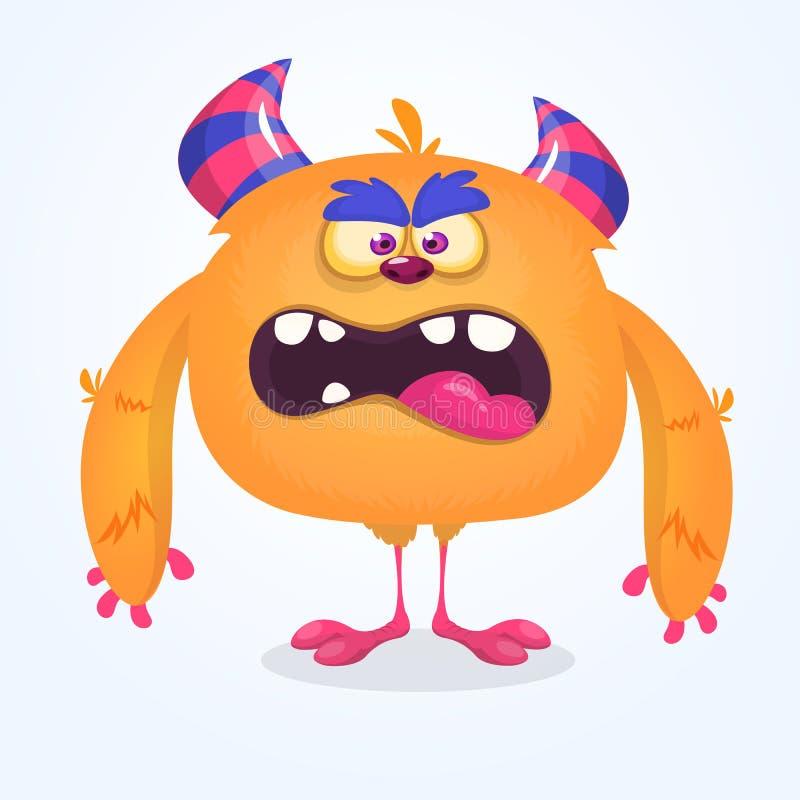 śliczny kreskówka potwór Wektorowy owłosiony pomarańczowy potwora charakter z malutkimi nogami i dużymi rogami Halloweenowy proje royalty ilustracja