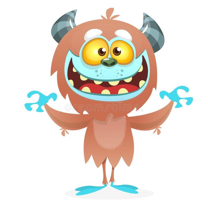 Śliczny kreskówka potwora yeti Wektorowy Bigfoot charakter royalty ilustracja