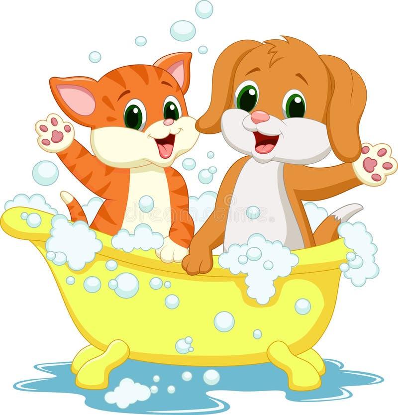 Śliczny kreskówka psa i kota kąpania czas ilustracji