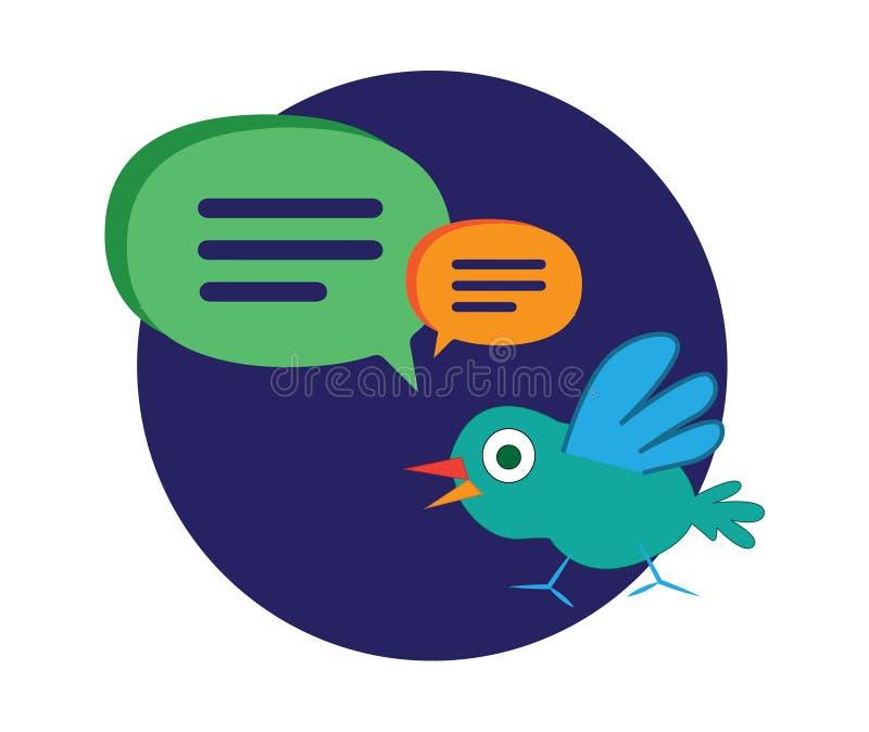 Śliczny kreskówka ptak z mowa bąblami ilustracji