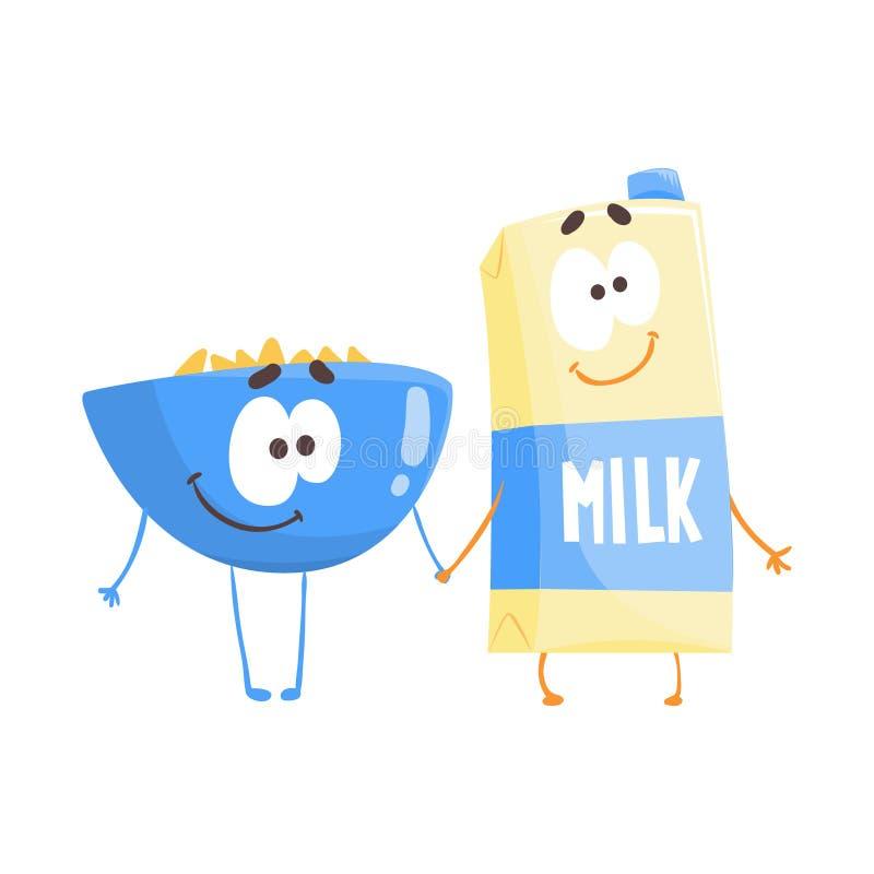Śliczny kreskówka puchar płatki i karton mleko z smiley stawiamy czoło, śmieszna fasta food charakteru wektoru ilustracja royalty ilustracja