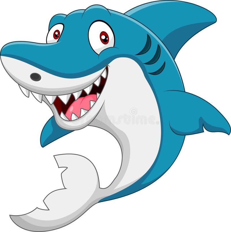 Śliczny kreskówka rekin ilustracja wektor