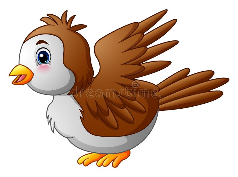 Śliczny kreskówka rudzika ptak ilustracja wektor