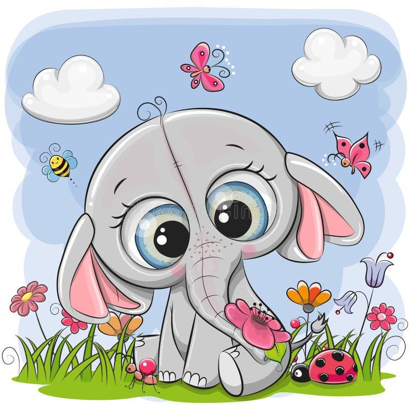Śliczny kreskówka słoń na łące ilustracja wektor