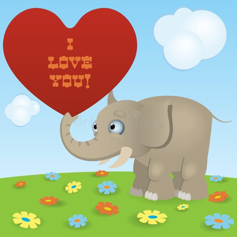 Śliczny kreskówka słoń royalty ilustracja