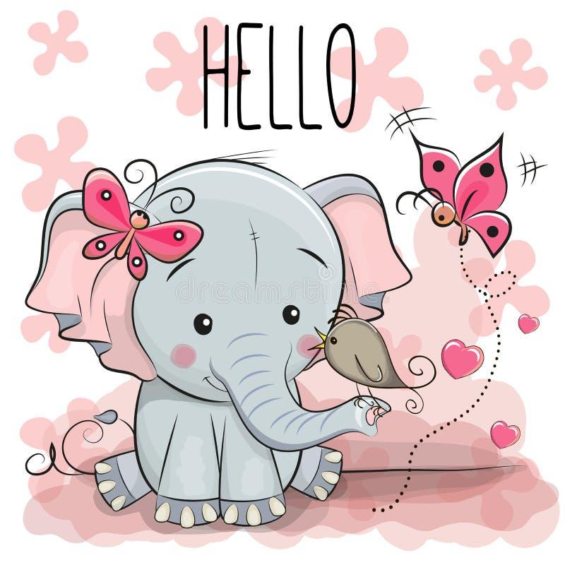 Śliczny kreskówka słoń z ptakiem ilustracja wektor