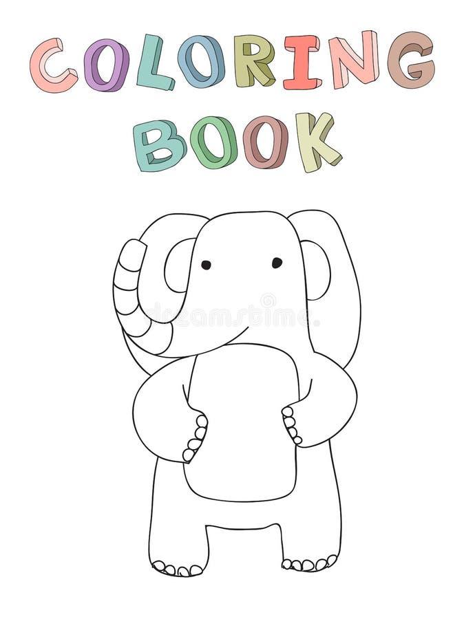 Śliczny kreskówka słonia charakter, wektor odizolowywał ilustrację w prostym stylu ilustracji